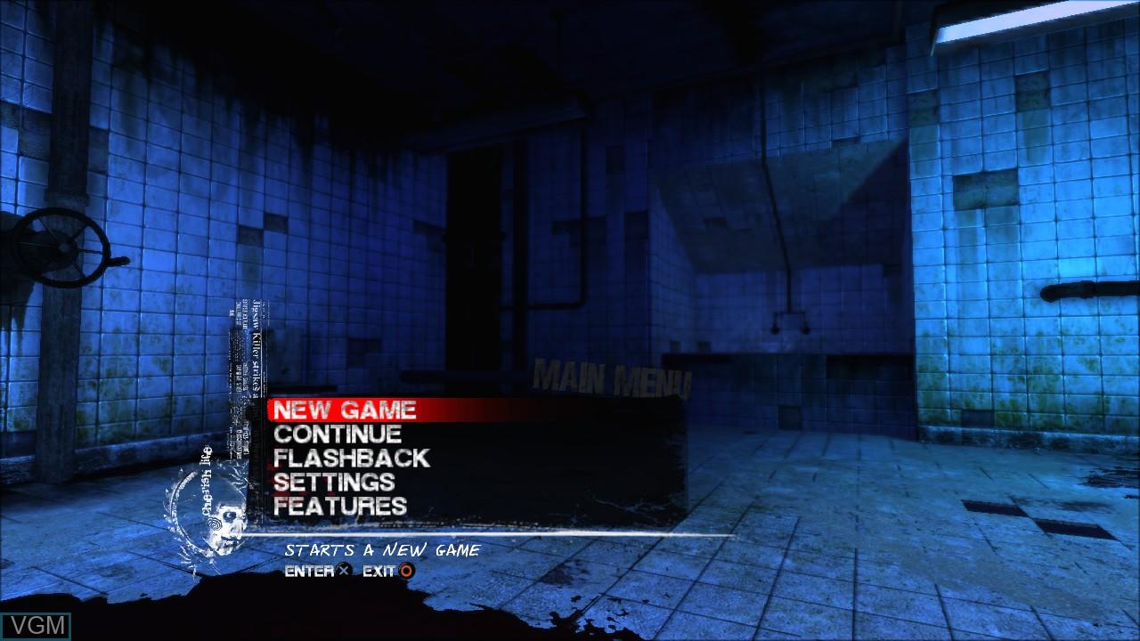 Image du menu du jeu Saw sur Sony Playstation 3