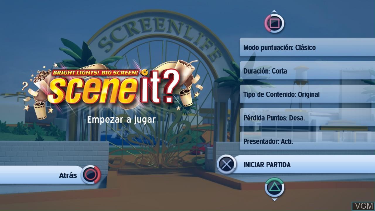 Image du menu du jeu Scene It? Bright Lights! Big Screen! sur Sony Playstation 3
