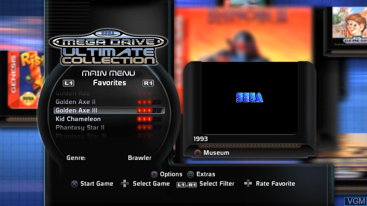 Image du menu du jeu SEGA Mega Drive Ultimate Collection sur Sony Playstation 3