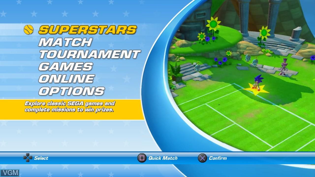 Image du menu du jeu Sega Superstars Tennis sur Sony Playstation 3