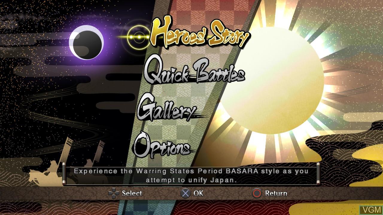 Image du menu du jeu Sengoku Basara - Samurai Heroes sur Sony Playstation 3