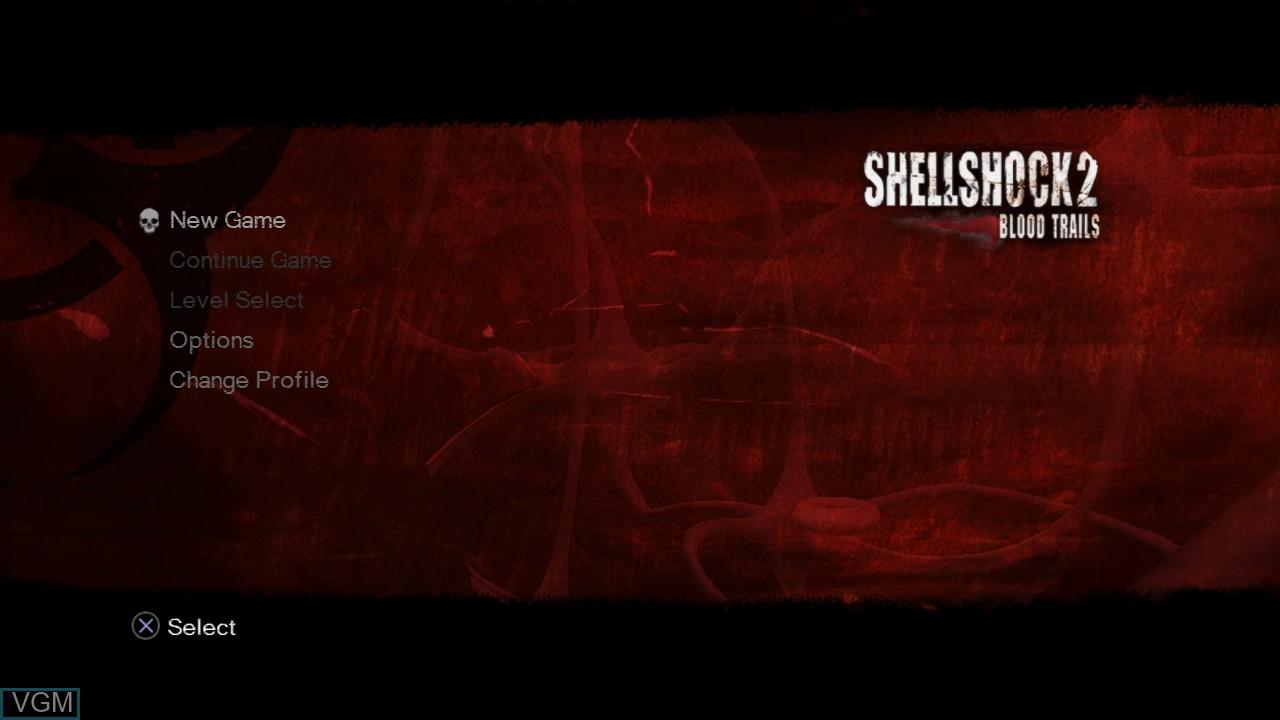 Image du menu du jeu ShellShock 2 - Blood Trails sur Sony Playstation 3