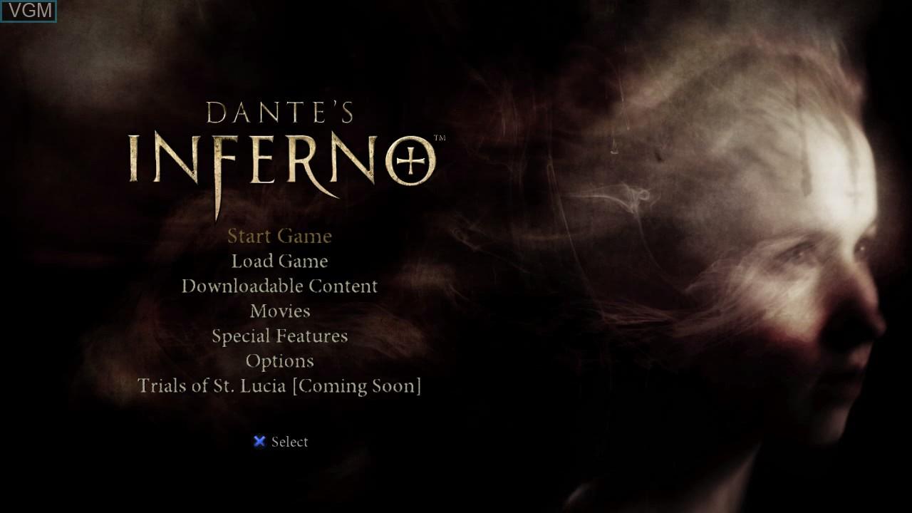 Image du menu du jeu Dante's Inferno sur Sony Playstation 3