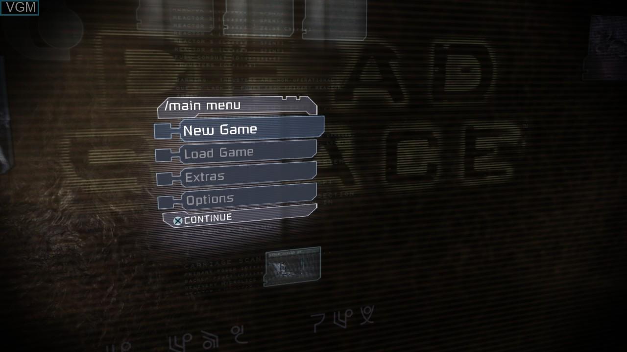 Image du menu du jeu Dead Space sur Sony Playstation 3