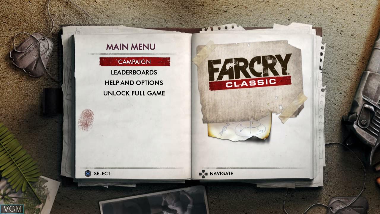 Image du menu du jeu Far Cry Classic sur Sony Playstation 3