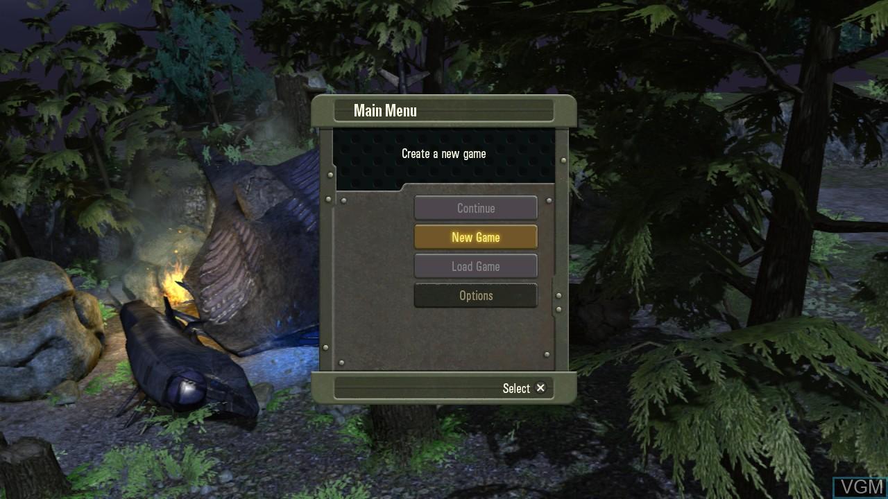 Image du menu du jeu Falling Skies - The Game sur Sony Playstation 3
