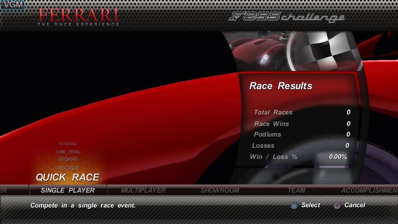 Image du menu du jeu Ferrari - The Race Experience sur Sony Playstation 3