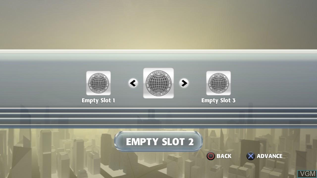 Image du menu du jeu National Geographic Challenge! sur Sony Playstation 3
