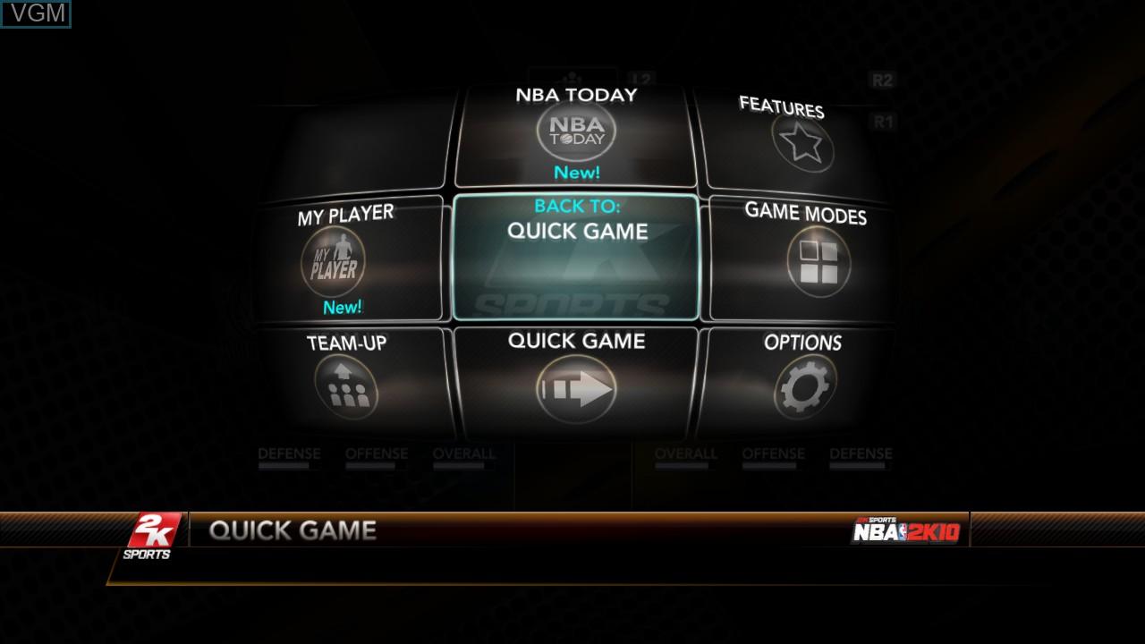 Image du menu du jeu NBA 2K10 sur Sony Playstation 3