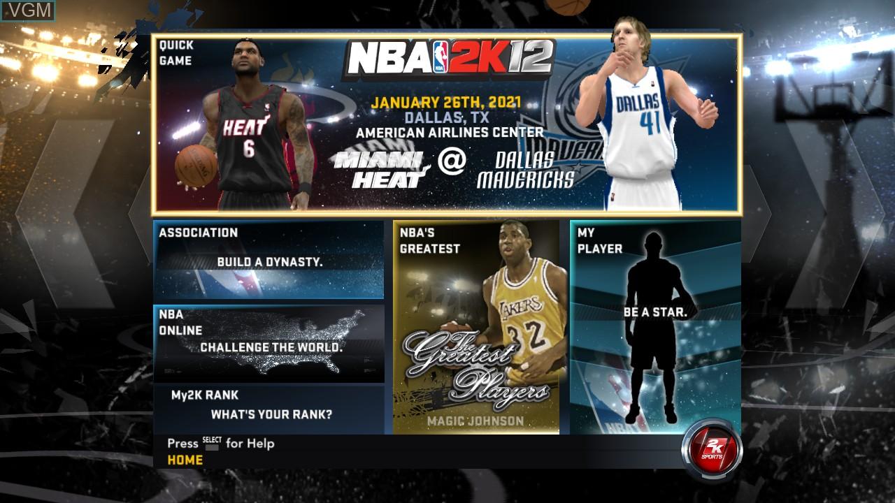 Image du menu du jeu NBA 2K12 sur Sony Playstation 3