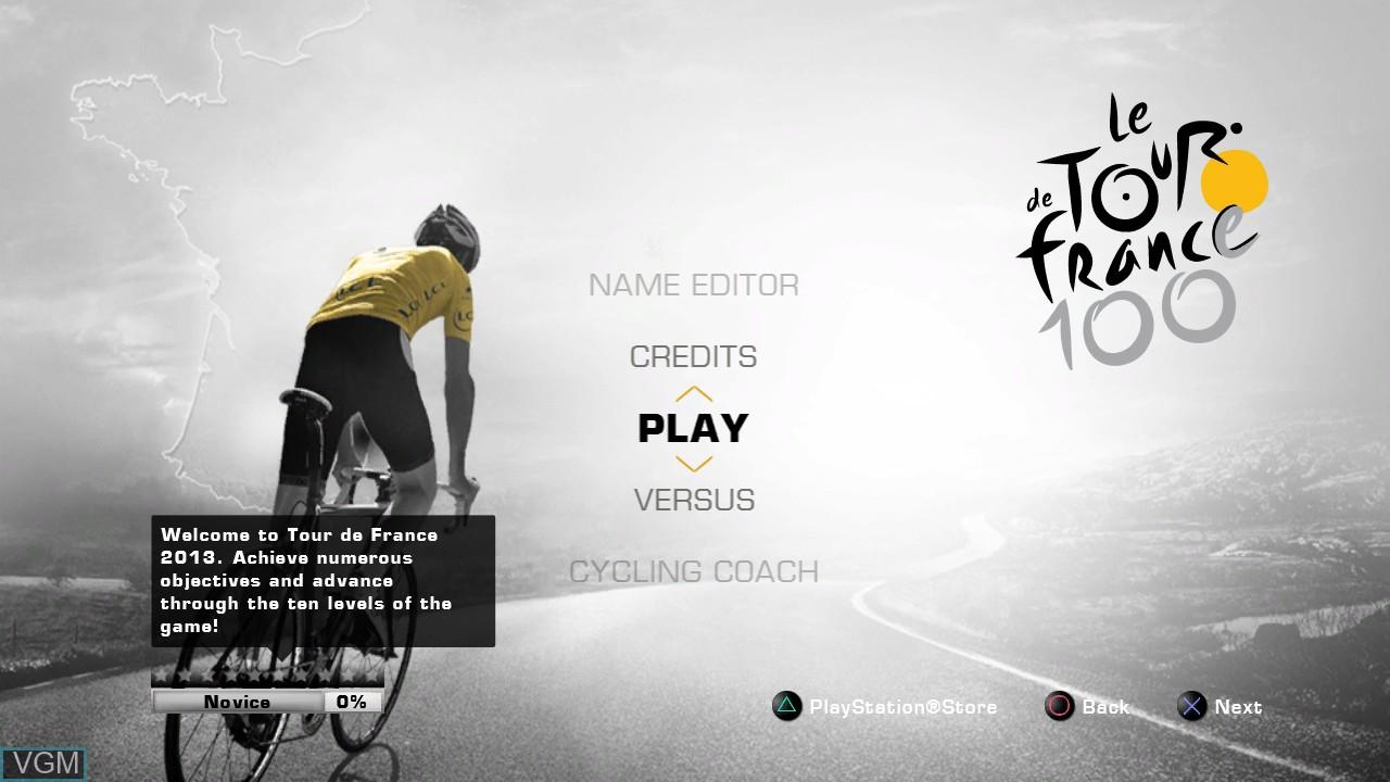 Image du menu du jeu Tour de France 2013, Le - 100th Edition sur Sony Playstation 3