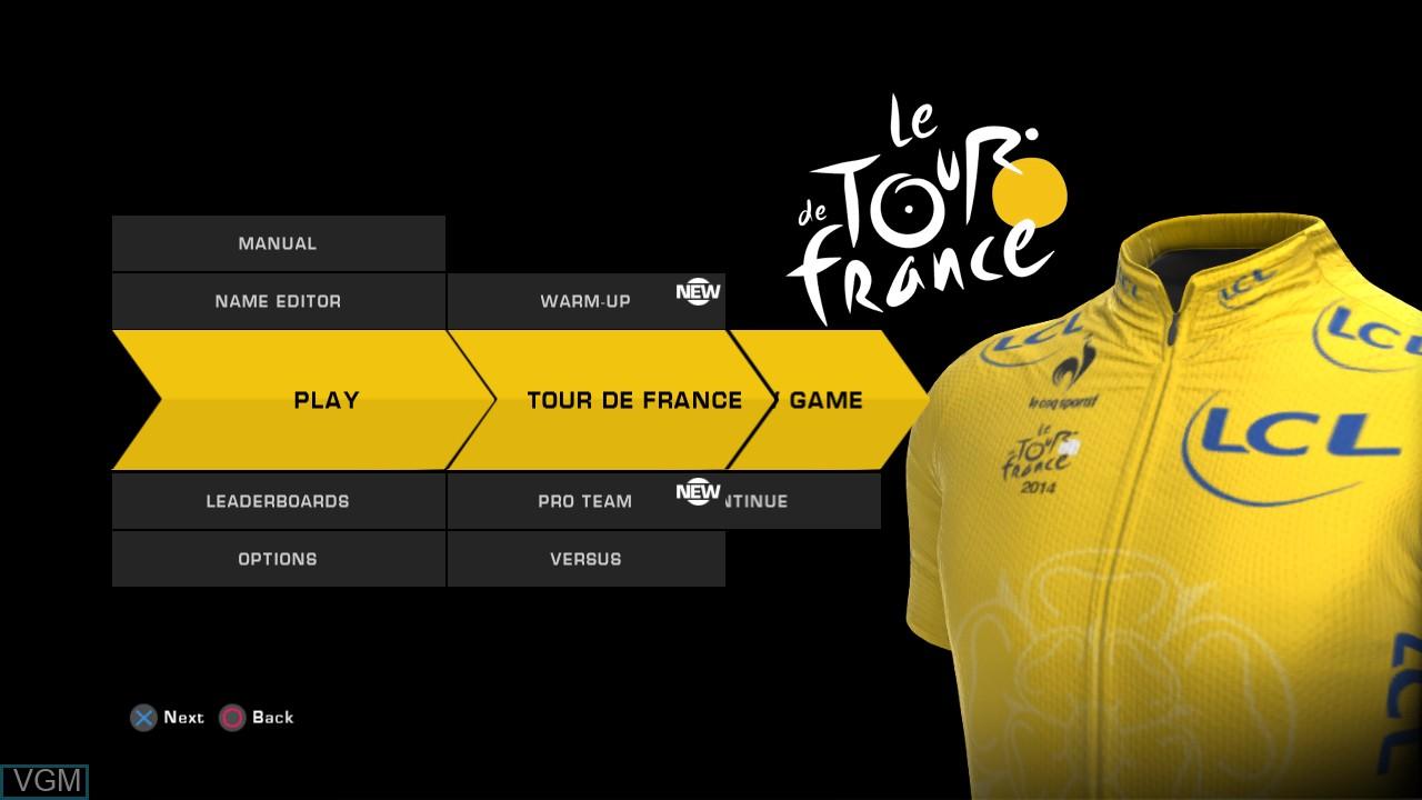 Image du menu du jeu Tour de France 2014, Le sur Sony Playstation 3
