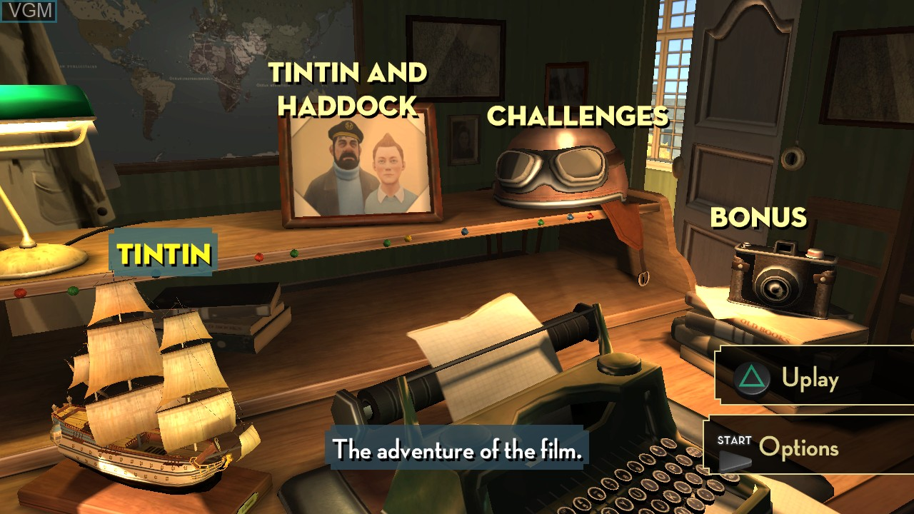 Image du menu du jeu Adventures of Tintin, The - The Secret of the Unicorn sur Sony Playstation 3