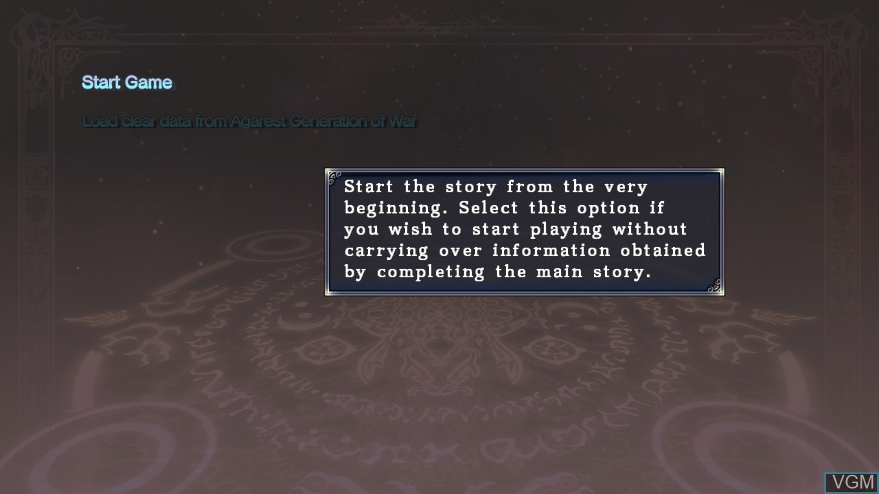 Image du menu du jeu Agarest - Generations of War Zero sur Sony Playstation 3