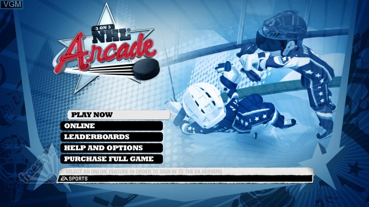 Image du menu du jeu 3 on 3 NHL Arcade sur Sony Playstation 3