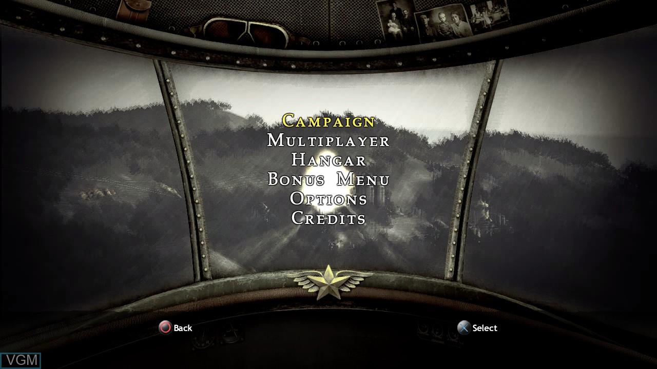 Image du menu du jeu Blazing Angels 2 - Secret Missions of WWII sur Sony Playstation 3