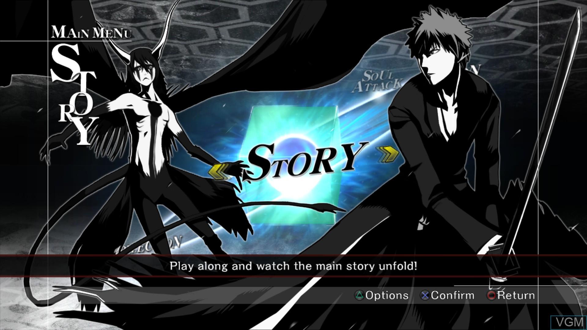 Image du menu du jeu Bleach - Soul Resurreccion sur Sony Playstation 3