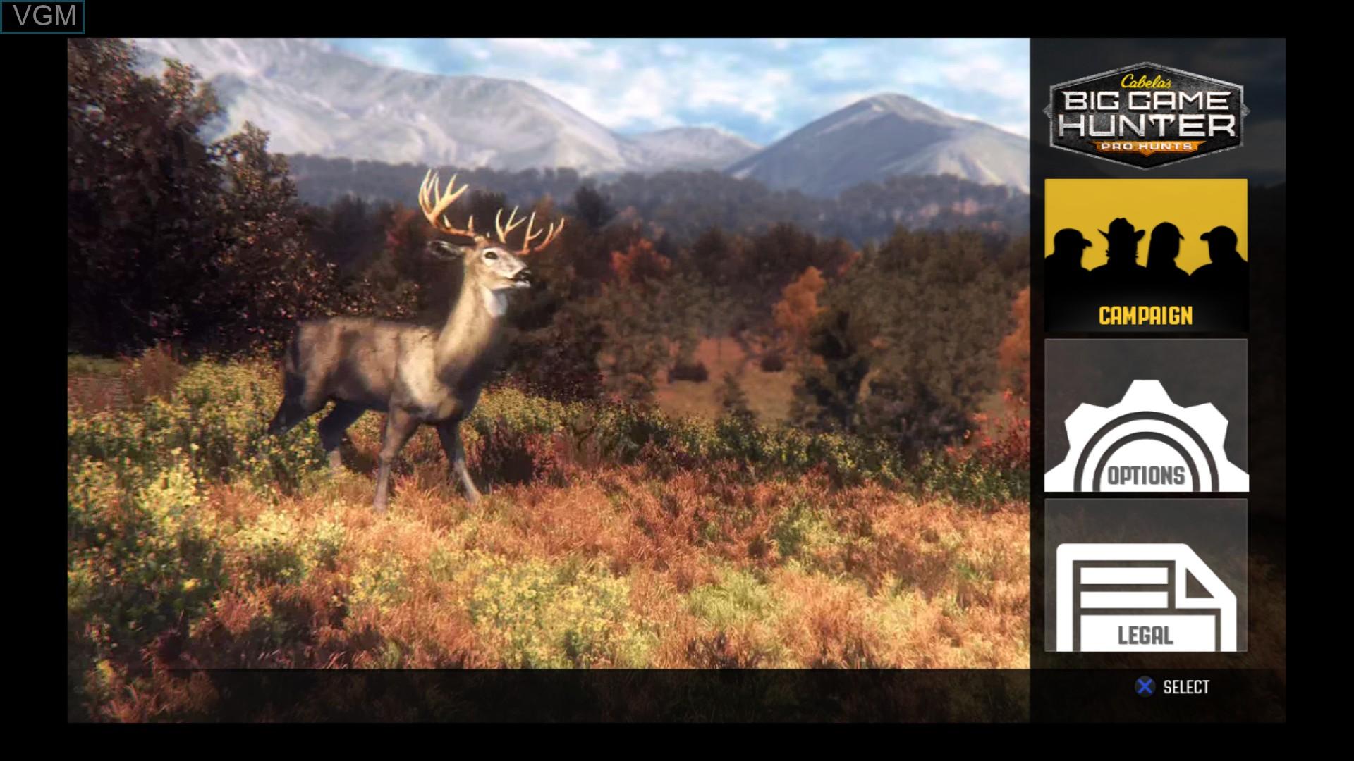 Image du menu du jeu Cabela's Big Game Hunter - Pro Hunts sur Sony Playstation 3