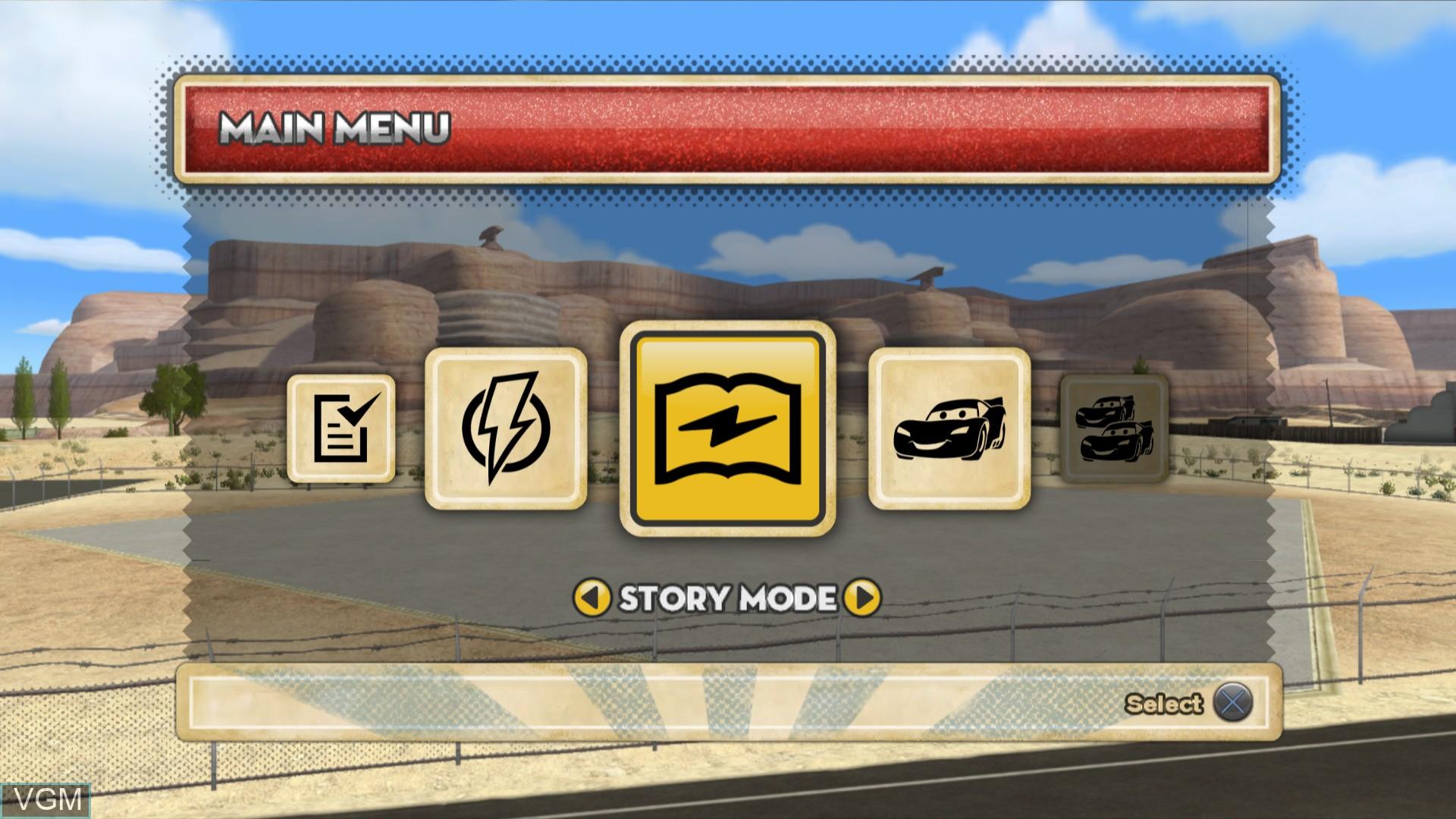 Image du menu du jeu Cars Mater-National Championship sur Sony Playstation 3