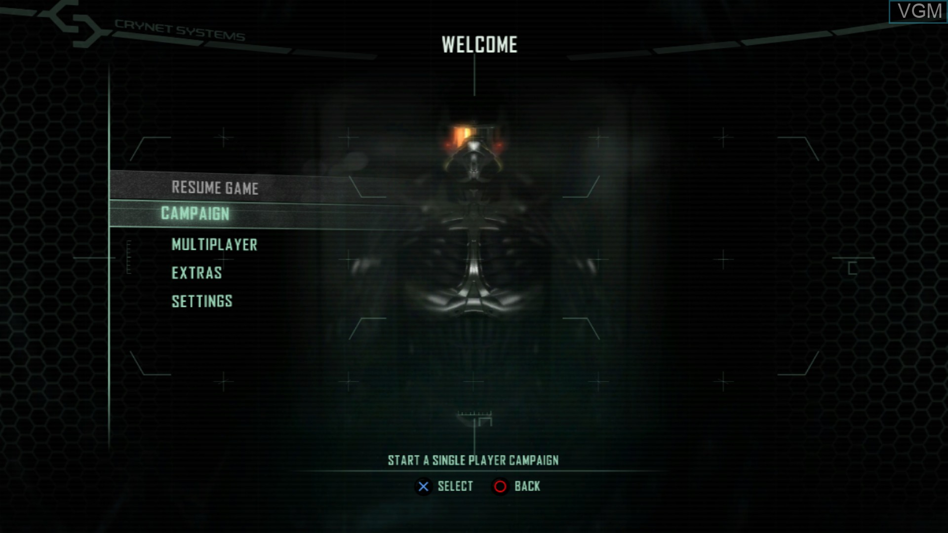 Image du menu du jeu Crysis 2 sur Sony Playstation 3