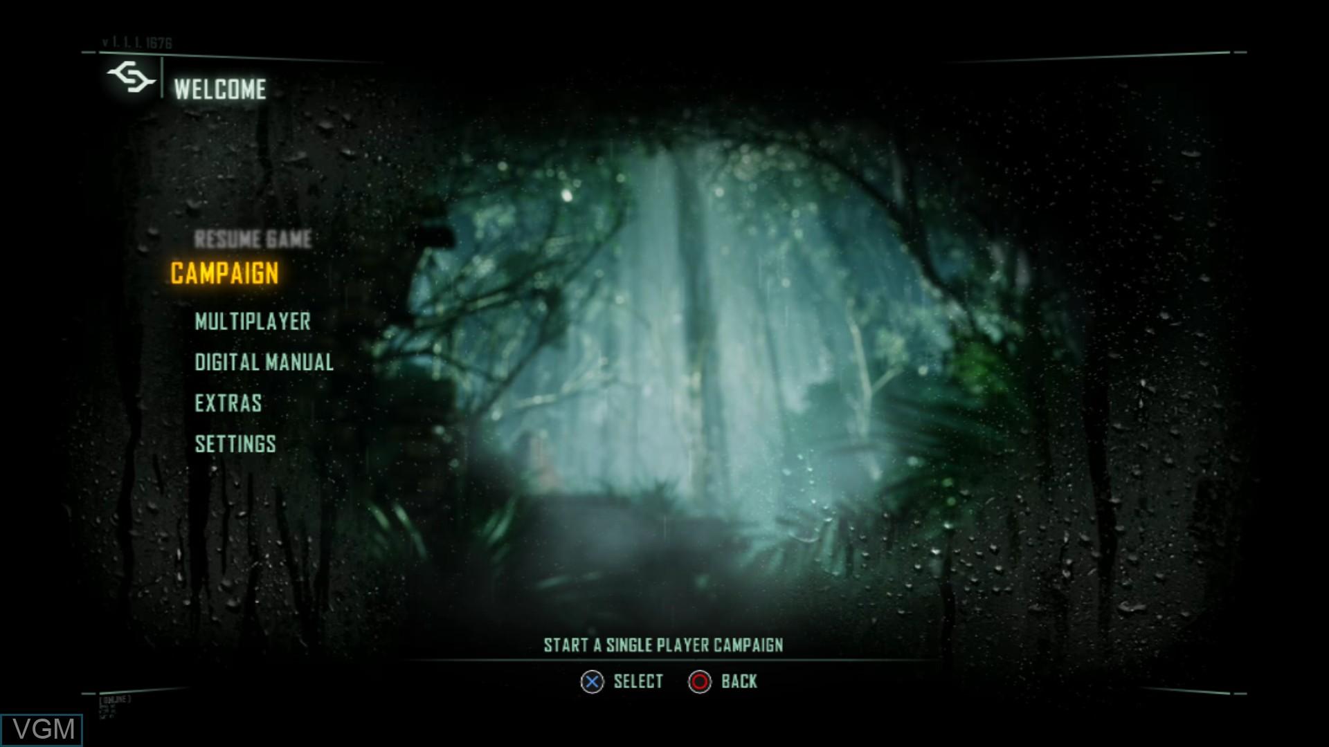 Image du menu du jeu Crysis 3 sur Sony Playstation 3