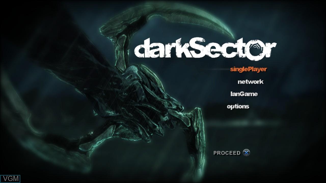 Image du menu du jeu Dark Sector sur Sony Playstation 3