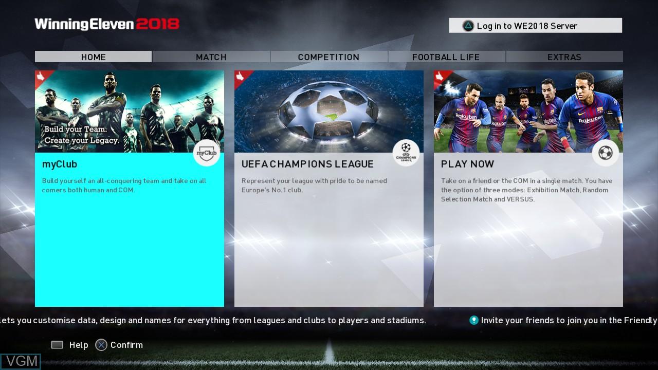 Image du menu du jeu Winning Eleven 2018 sur Sony Playstation 3