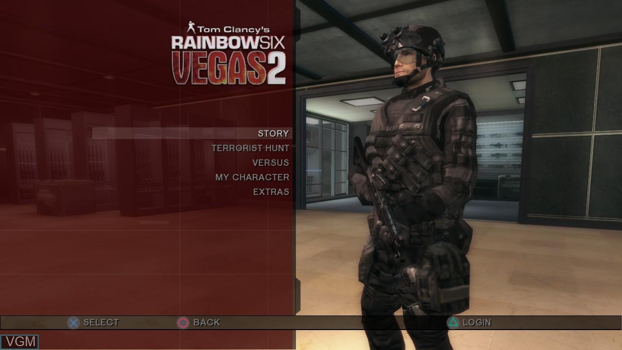 Image du menu du jeu Tom Clancy's Rainbow Six Vegas 2 sur Sony Playstation 3