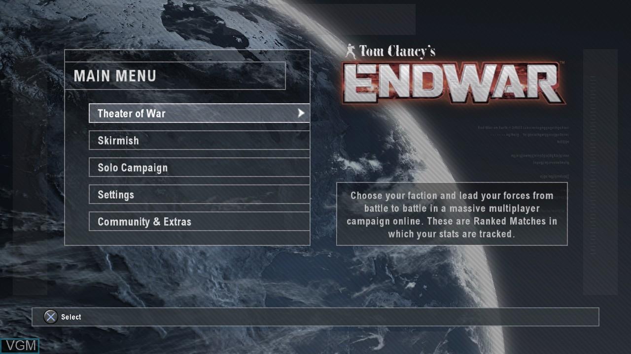 Image du menu du jeu Tom Clancy's EndWar sur Sony Playstation 3