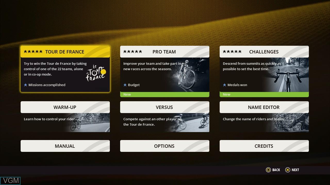 Image du menu du jeu Tour de France, Le sur Sony Playstation 3