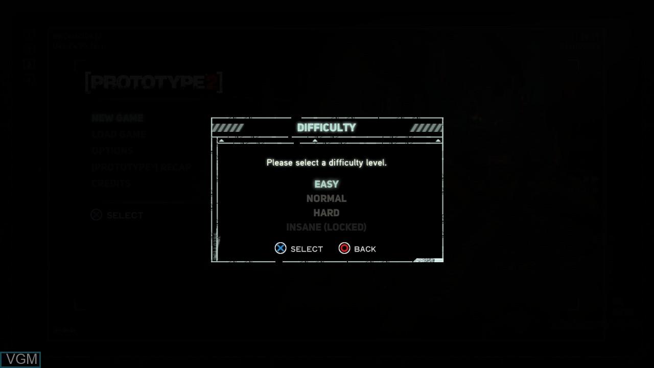 Image du menu du jeu Prototype 2 sur Sony Playstation 3