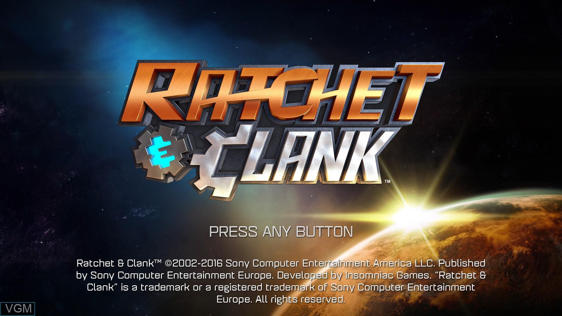Image de l'ecran titre du jeu Ratchet & Clank sur Sony Playstation 4