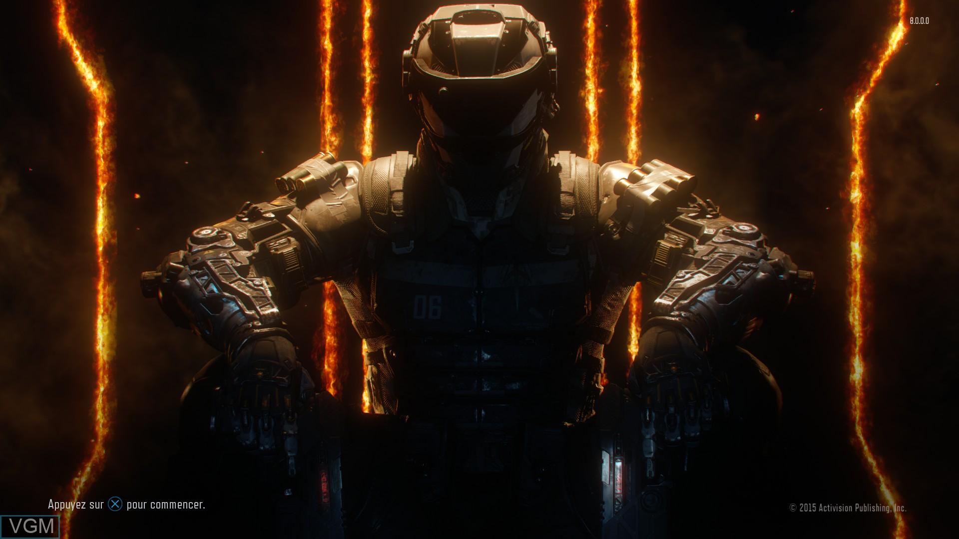 Image de l'ecran titre du jeu Call of Duty - Black Ops III sur Sony Playstation 4