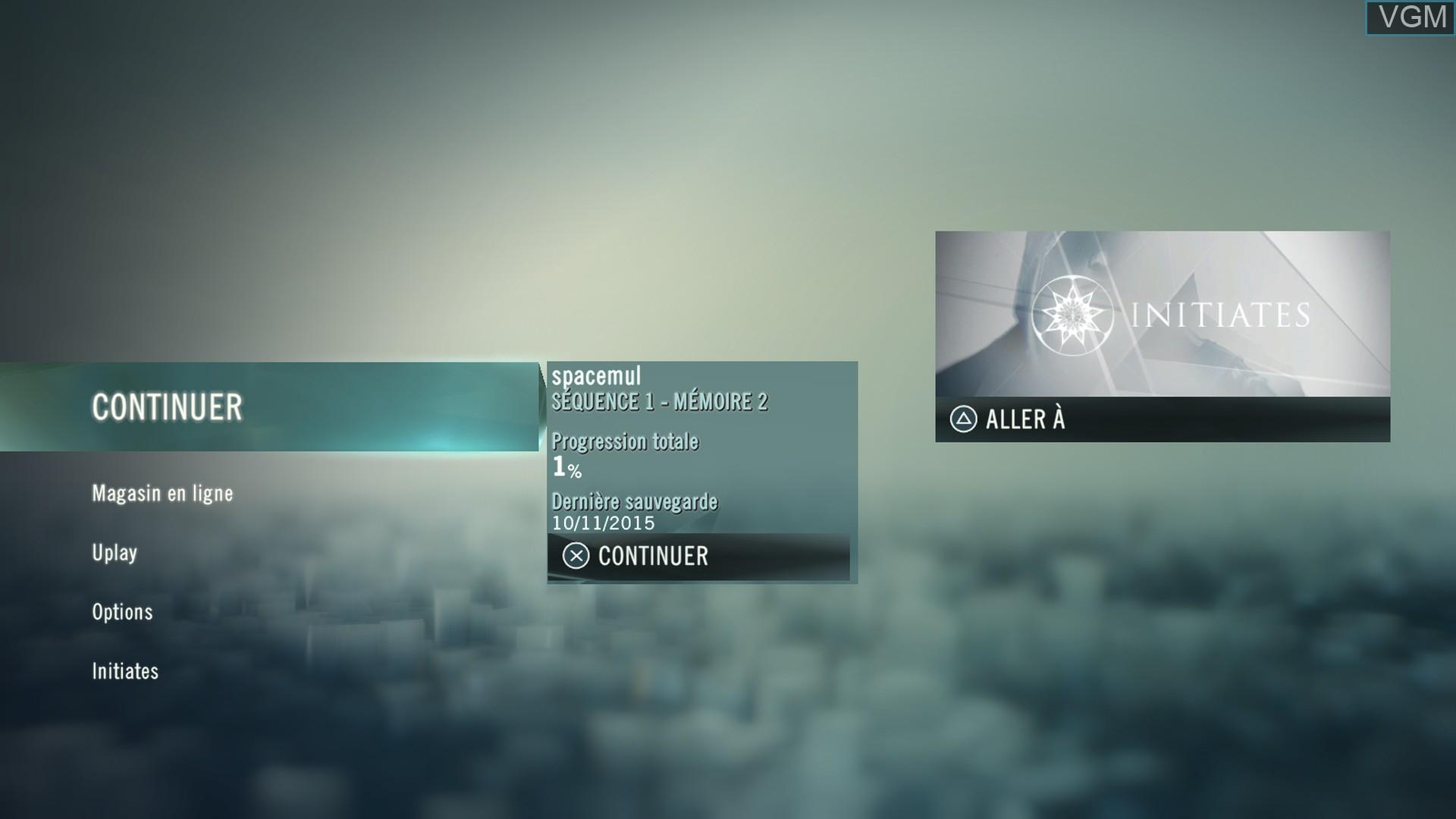 Image du menu du jeu Assassin's Creed Unity sur Sony Playstation 4