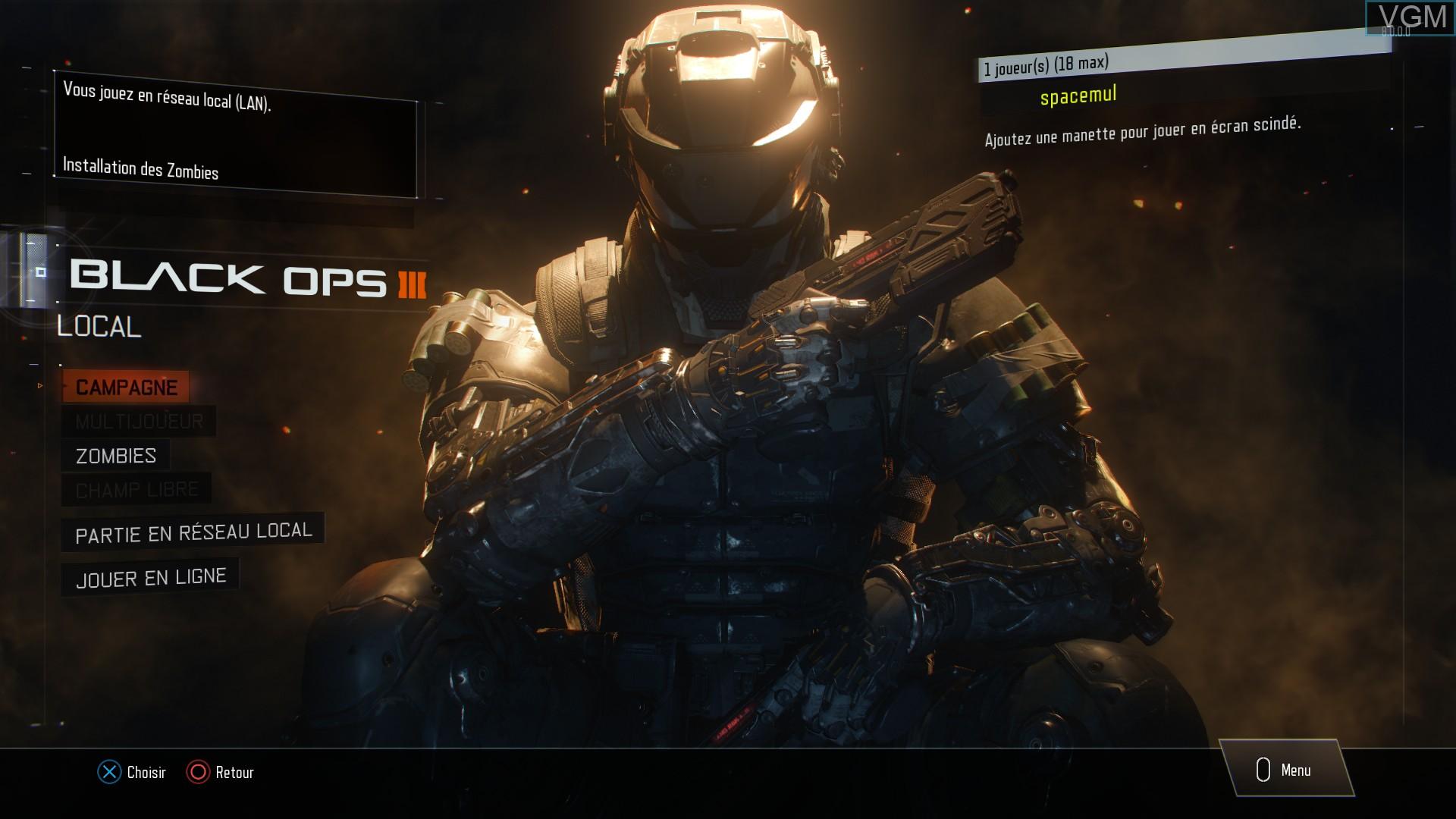 Image du menu du jeu Call of Duty - Black Ops III sur Sony Playstation 4