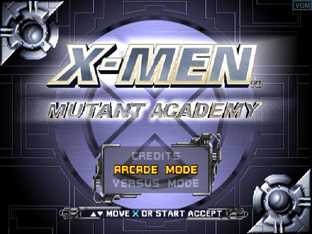 Image de l'ecran titre du jeu X-Men - Mutant Academy sur Sony Playstation