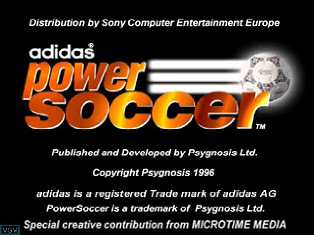 Image de l'ecran titre du jeu Adidas Power Soccer sur Sony Playstation