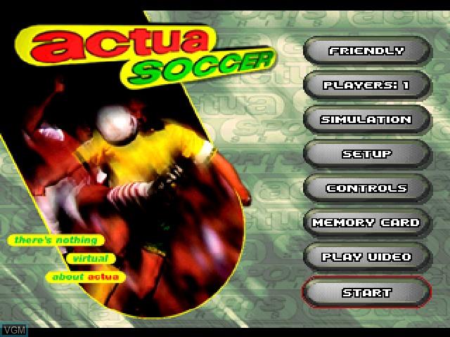 Image de l'ecran titre du jeu Actua Soccer sur Sony Playstation