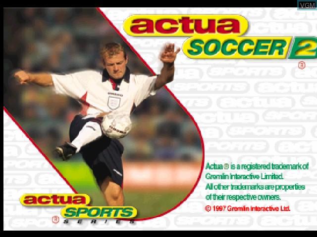 Image de l'ecran titre du jeu Actua Soccer 2 sur Sony Playstation