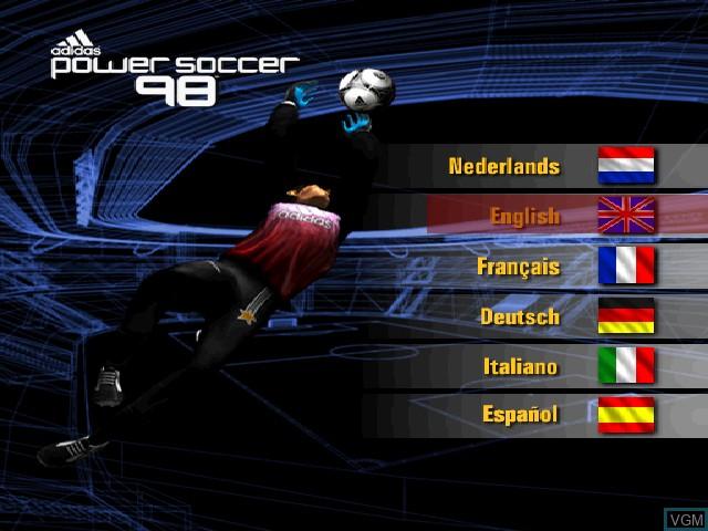 Image de l'ecran titre du jeu Adidas Power Soccer 98 sur Sony Playstation