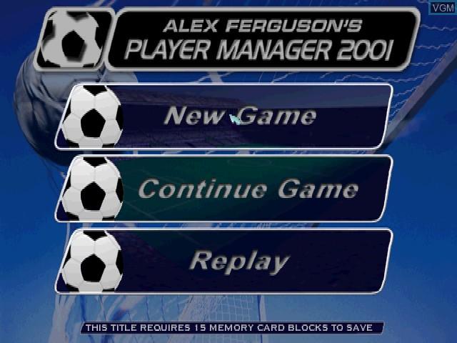 Image de l'ecran titre du jeu Alex Ferguson's Player Manager 2001 sur Sony Playstation