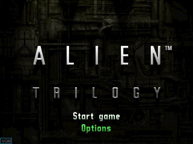 Image de l'ecran titre du jeu Alien Trilogy sur Sony Playstation
