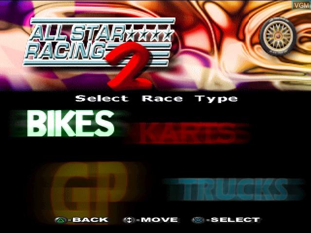 Image de l'ecran titre du jeu All Star Racing 2 sur Sony Playstation
