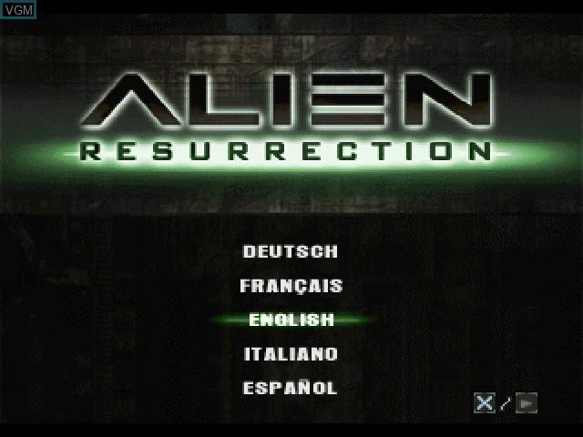 Image de l'ecran titre du jeu Alien Resurrection sur Sony Playstation