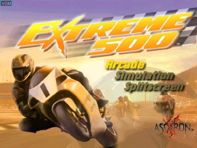 Image de l'ecran titre du jeu Extreme 500 sur Sony Playstation