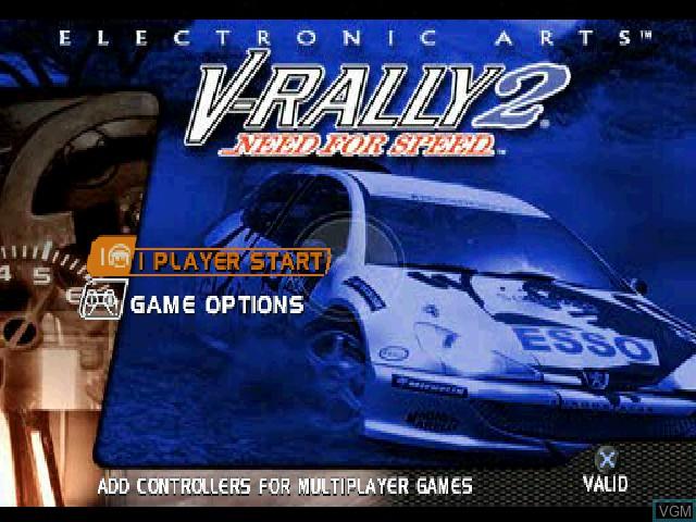 Image de l'ecran titre du jeu Need for Speed - V-Rally 2 sur Sony Playstation