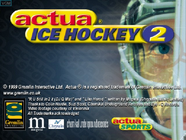 Image de l'ecran titre du jeu Actua Ice Hockey 2 sur Sony Playstation
