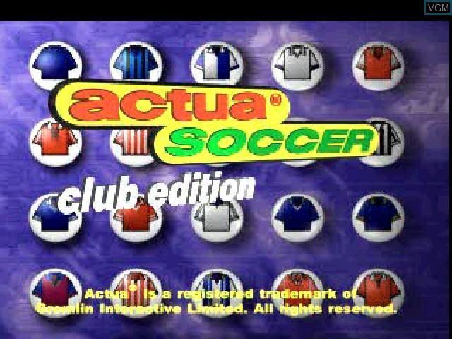 Image de l'ecran titre du jeu Actua Soccer - Club Edition sur Sony Playstation