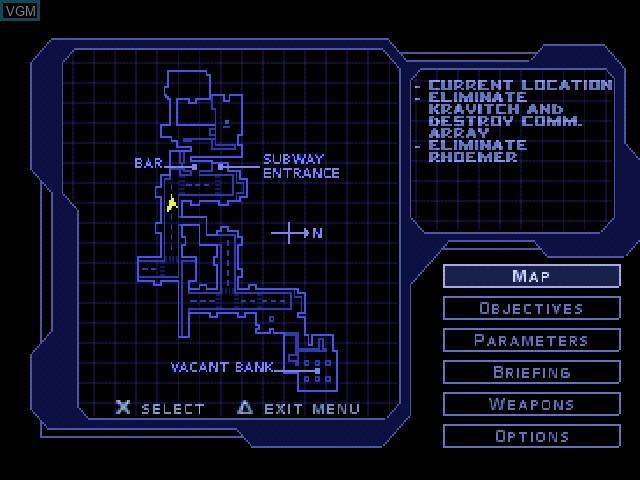 Image du menu du jeu Syphon Filter sur Sony Playstation