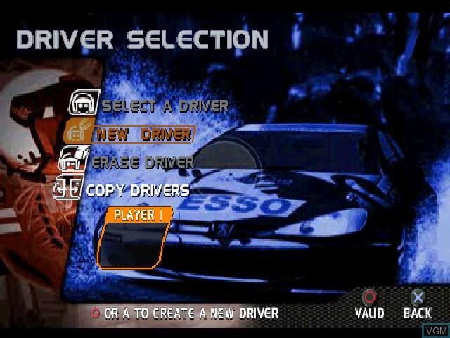 Image du menu du jeu V-Rally - Championship Edition 2 sur Sony Playstation